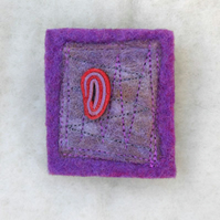 Handmade felted purple and lilac brooch