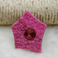 Hand felted pink and nuno felted brooch with wire spiral