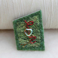 Hand made green heart brooch