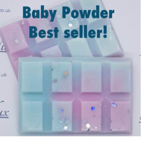 Baby Powder scented wax melt snap bar 28-30g. Full range in my shop