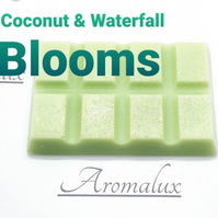Coconut & Waterfall Blooms scented wax melt snap bar. All wax melts sizes