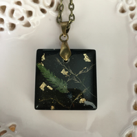 Midnight garden pressed fern and grasses pendant