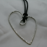 Large silver wire heart pendant