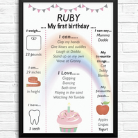 Personalised First Birthday Print - 1st birthday - keepsake - boy girl