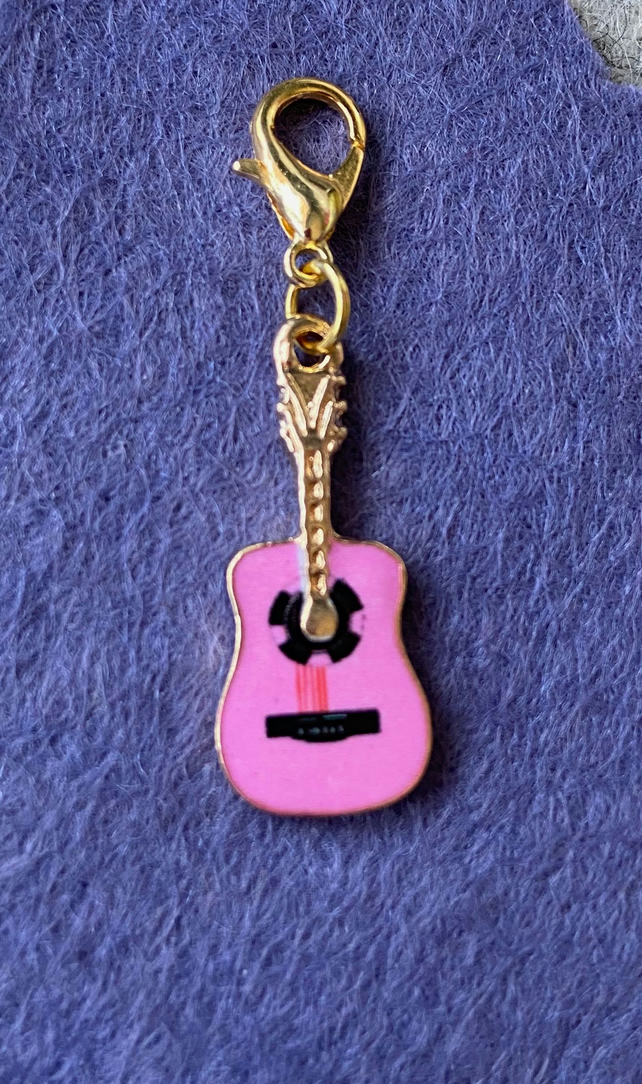 Pink Guitar Progress Keeper or Charm