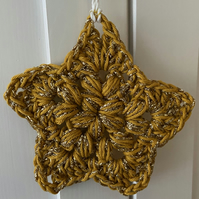 Crochet Star Hanging Decoration - Gold