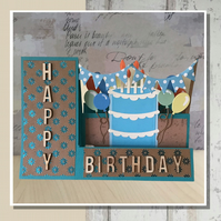 Personalised 3d  Birthday Cake with candles and balloons Card