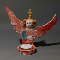 Angel Tealight Holder -red