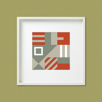 Geometric Abstract Square Giclee Print (unframed) – Orange