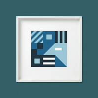 Geometric Abstract Square Giclee Print (unframed) Blues
