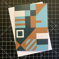 A6 'BLOCKS' Design Greeting Card in Gold & Teal