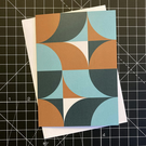 A6 'QUADS' Design Greeting Card in Gold & Teal