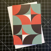 A6 'QUADS' Design Greeting Card in Red & Green