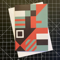 A6 'BLOCKS' Design Greeting Card in Red & Green
