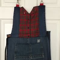 Tartan & Denim Craft Apron