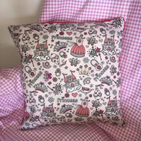 Handmade Pretty Child's Small Pink Princess Cushion Cover