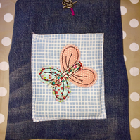 Handmade Padded Denim iPad Tablet Case Cover with Butterfly Motif