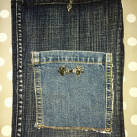 Handmade Denim iPad Tablet Case Cover with Owl detail