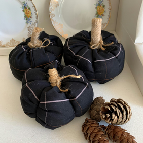 Set of 3 Handmade Black Check Fabric Pumpkins