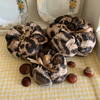 Set of 3 Leopard Print Fabric Pumpkins