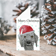 Bedlington Terrier Dog Christmas Card, custom card, personalised card- BTC