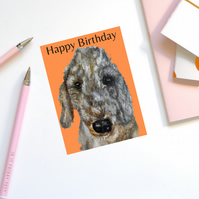 Birthday card, dog, Bedlington Terrier-BTW