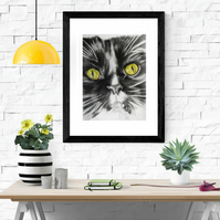 Giclee fine art print, limited edition, Maine Coon cat, cat art - TEHI
