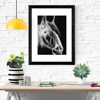 Giclee fine art print, limited edition, horse, shire horse-WFH