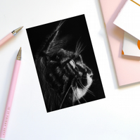 Handmade, Birthday card, cat, Maine Coon, greeting card- CON