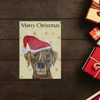 Chocolate Labrador Dog Christmas Card, handmade, personalised card -CLC