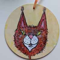 Ginger cat, Maine Coon, wooden hanging decoration, wall plaque
