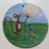 Mouse hanging wooden decoration, dandelion, nature, handpained