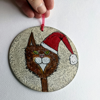 Christmas decoration, santa cat, Maine Coon, cat, wooden, handpainted decoration