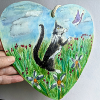 cat lovers painting, meadow, christmas gift, nature, butterfly, hanging plaque