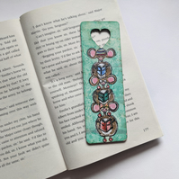 whimsical bookmark, handpainted, wooden bookmark, mice, book lover gift