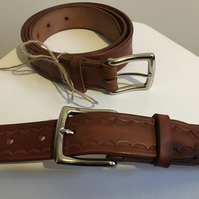 Veg tan leather belt with Nickel buckle-Small