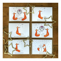 Fox themed Christmas greetings cards, Pack of 6