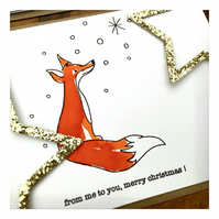 From me to you, Merry Christmas! - Fox Themed - Hand painted card