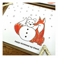 Happy Christmas my friend - Fox Theme - Hand painted Christmas card