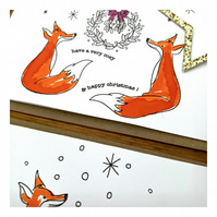 Cosy Happy Christmas - Fox Theme - Hand painted Christmas card