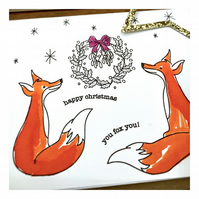 Happy Christmas You Fox - Hand painted Christmas card