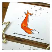 Christmas Fabulous as Your Tail - Fox Theme - Hand painted Christmas card