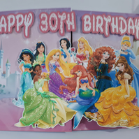Princess Birthday Card, Large birthday card