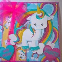 Unicorn Birthday card, Girls birthday card