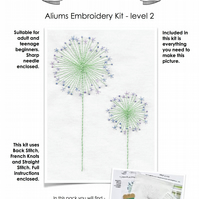 Beginners Embroidery Kit - Aliums