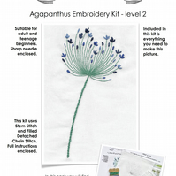 Beginners Embroidery kit - Agapanthus