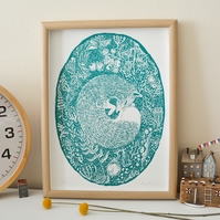 Woodland Fox Print in Turquoise Green