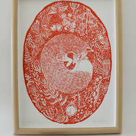 Woodland Fox Print in Bright Red
