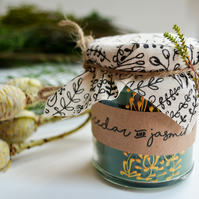 Hand Poured Candle 'Himalayan Cedar & Jasmine' Handcrafted Welsh Candles