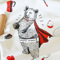 Mama Bear Towel 'Super Mam' Silk Screen Printed 2 Colour Tea Towel
